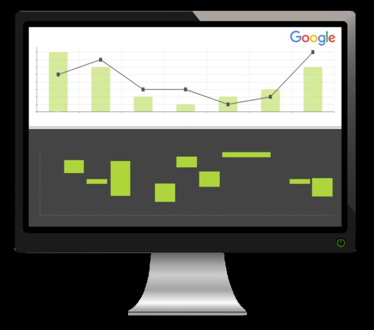 monitor z wykresem