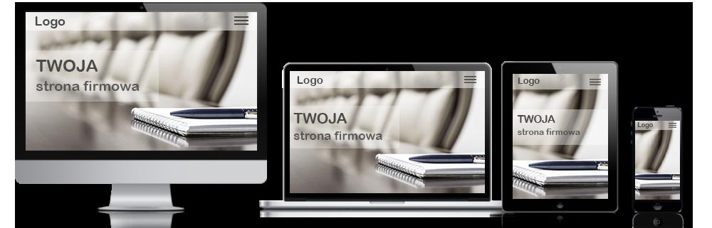 widok strony internetowej na ekranie monitora, laptopa, tabletu i telefonu