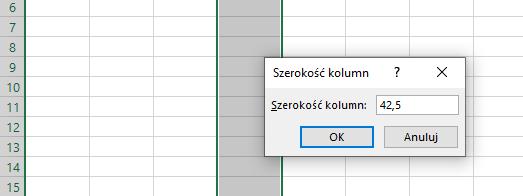 Excel - ustawienie rozmiaru komórki w cm / mm - 2